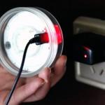 Solar lantern plugged in